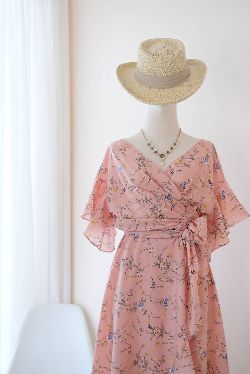 Floral Pink dress Pink Bridesmaid dress Bridesmaid Robe Sundress Summer dress