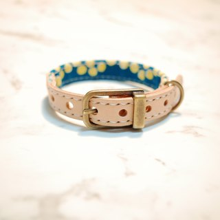 Dog big cat S size collar blue green point water jade yellow can be on the leash can add tag