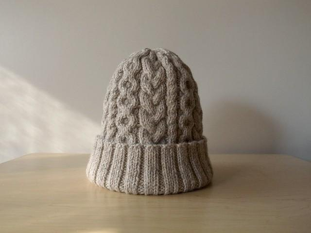 Alan knit hat, oatmeal knitted hat Made to order