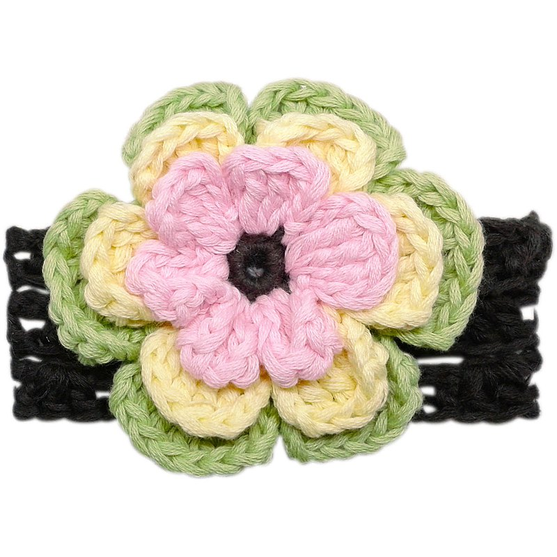 Multi-petal macaron color big flower hand-knitted flower cotton headband Pink / Sunny / Mint