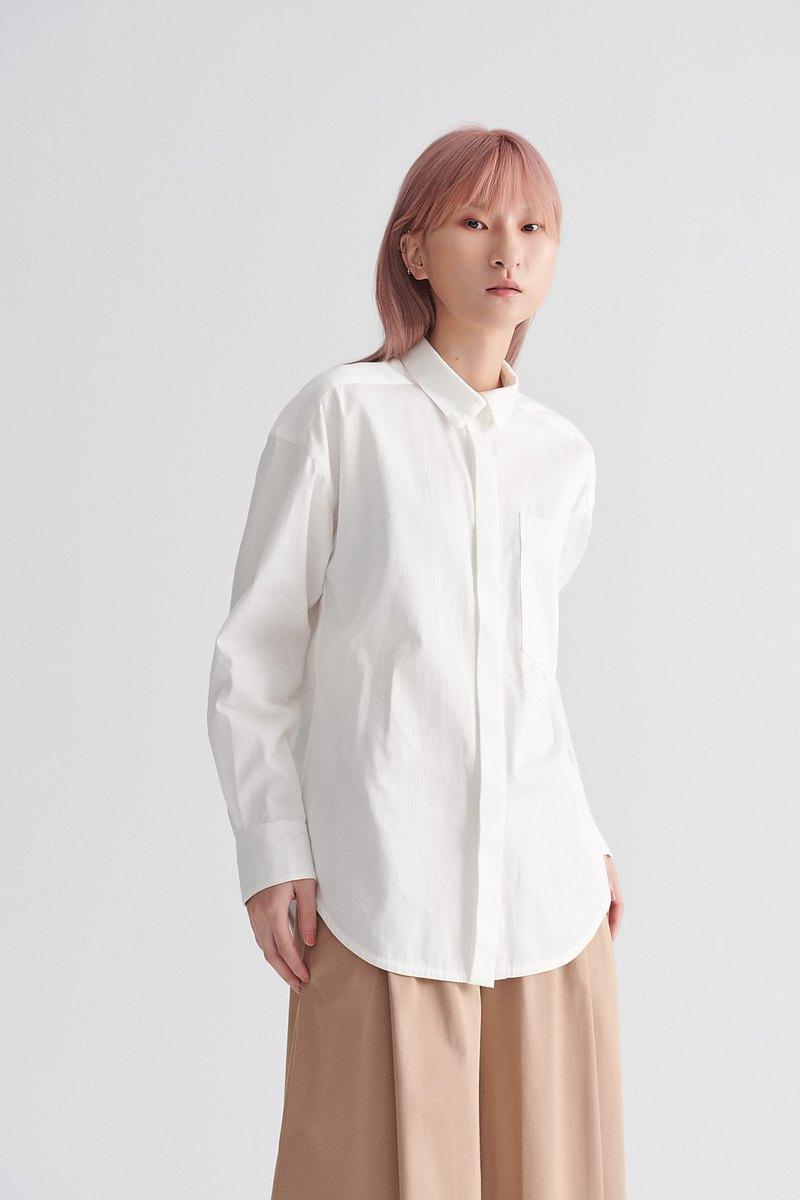 Shan Yong 斜紋簡約造型棉質襯衫