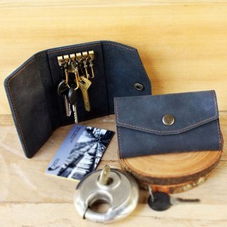 Key Case - H2 (Navy Blue) / Key Holder / Key Ring (Genuine cow Leather)