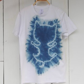 Free dyeing isvara handmade blue dye daily cat series sticky cat cotton T-shirt