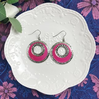 Silver Side Pink Vintage Circle Antique Earrings BLA066