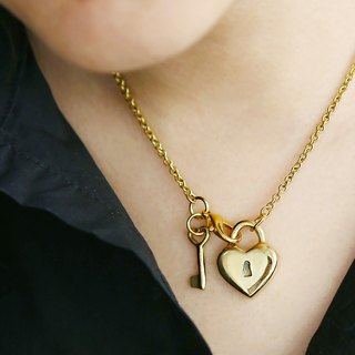 Two sided heart lock and key pendants, Heart pendant, Anatomical heart pendant, Heart Lock And Key Charms, Heart Y necklace, Brass