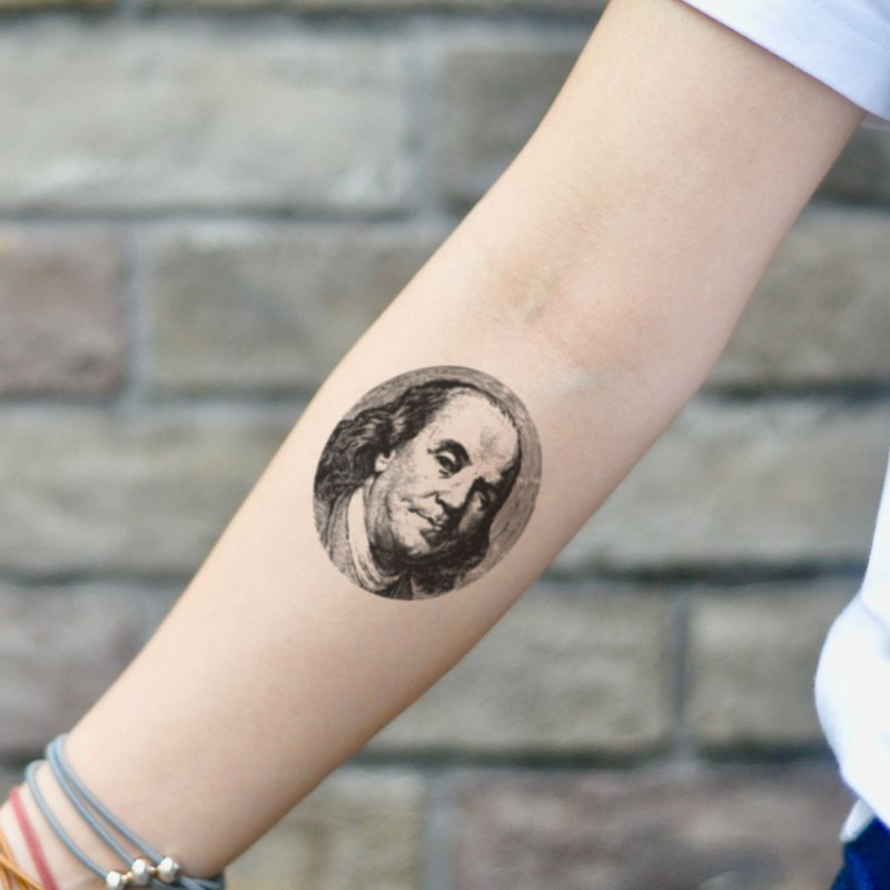 Ben Benjamin Franklin Temporary Tattoo Sticker (Set Of 2) - OhMyTat
