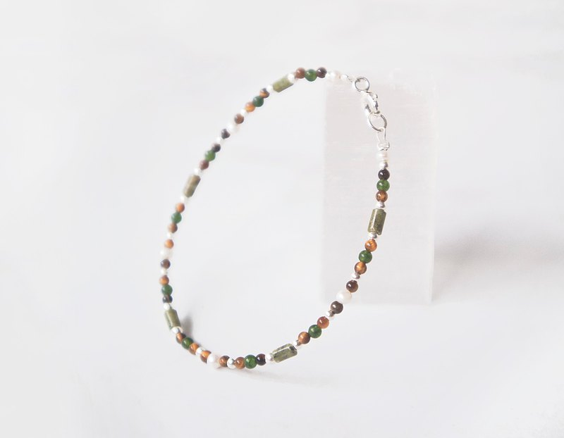 Find it / Green Turtle-Yellow Tiger Eye Stone Jasper Green Stone 925 Sterling Silver Customized Very Fine Bracelet