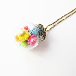 *Rosy Garden*Rainbow Daisies glass ball necklace