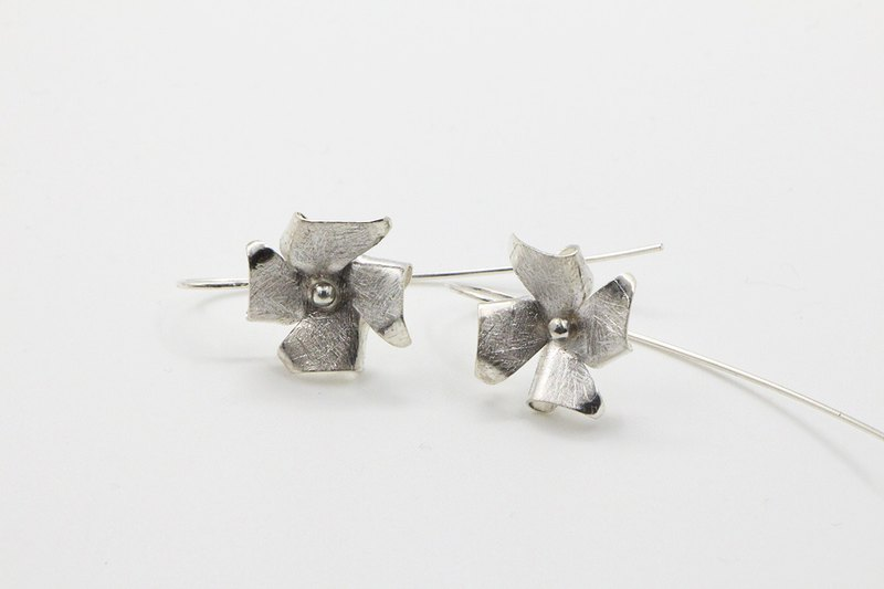Geometric Series Windmill 925 silver hanging earrings