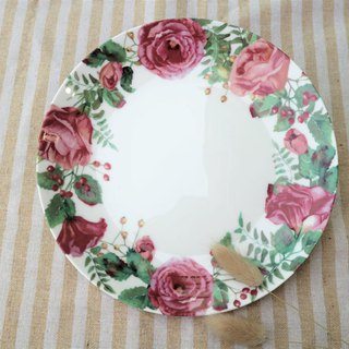 Christmas gift / safflower green wreath 8 enamel porcelain plate