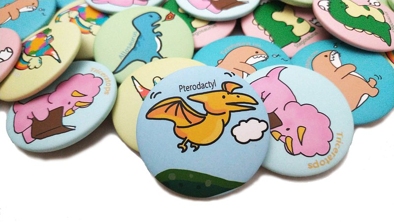 Q version of the dinosaur badge can be selected and collected