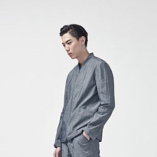 TRAN - V neck linen drawstring jacket