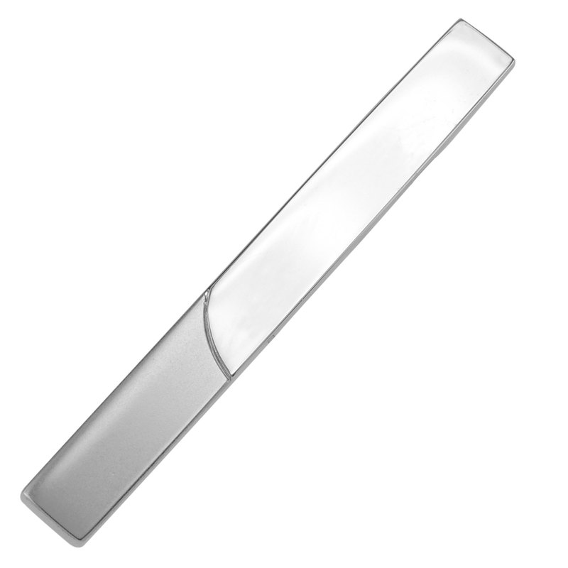 52mm Silver Two Tone Blank Tie Clips