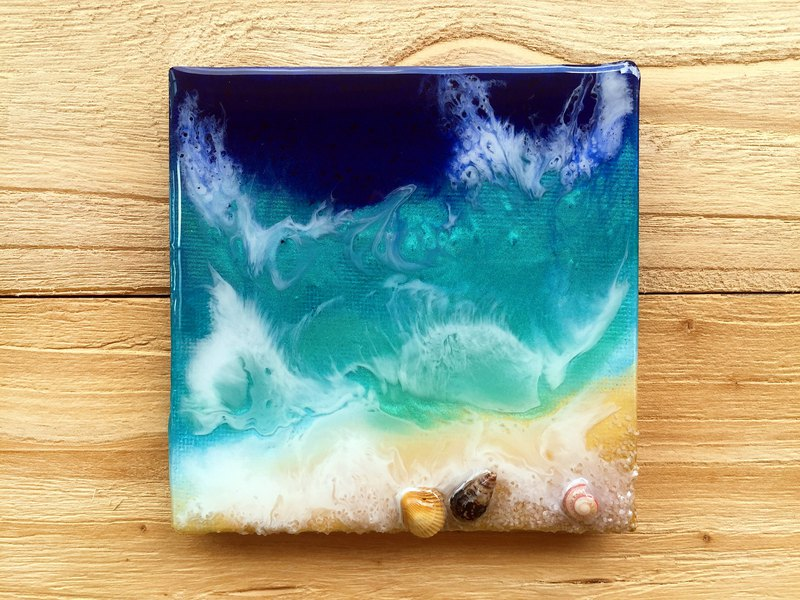 Exclusive-【Seascape】 Resin Ocean Painting. Crystal Beach Landscape Blue Wave