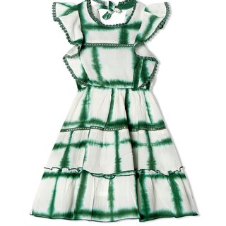 CHANDAMAMA Harleen White w/emarland Green Dress