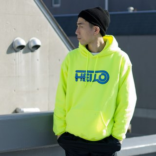 HELLO HOODIE # SAFETY GREEN