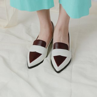 Retro Simple Color Matching Leather Shoes White