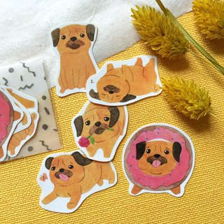 Watercolor Pug Sticker Pack