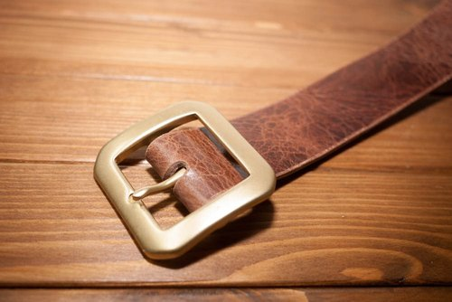 Dreamstation leather Pao Institute, Italian vegetable tanned leather belt 3.8CM hand (he sold special color) - belt / belt / Brass