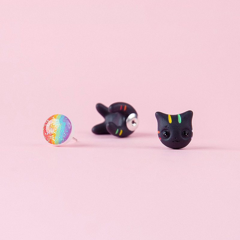 Black Rainbow Cat Earrings - Polymer Clay Jewelry, Handmade and Handpainted