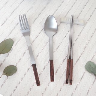 [KROLL] Pure Titanium Home Set - Walnut (fork + spoon + chopsticks)