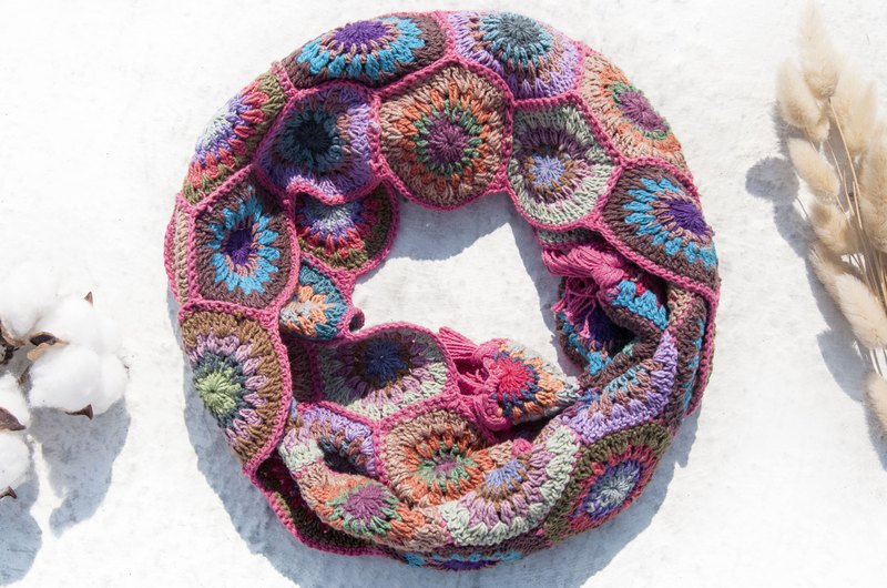 Hand Crocheted Scarf / Crocheted Scarf / Handmade Flower Woven Scarf / Cotton Woven-Pink Forest Flowers