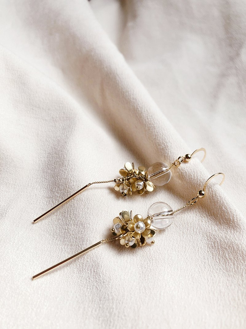 Febbi Small Daisy Series-White Crystal Earrings
