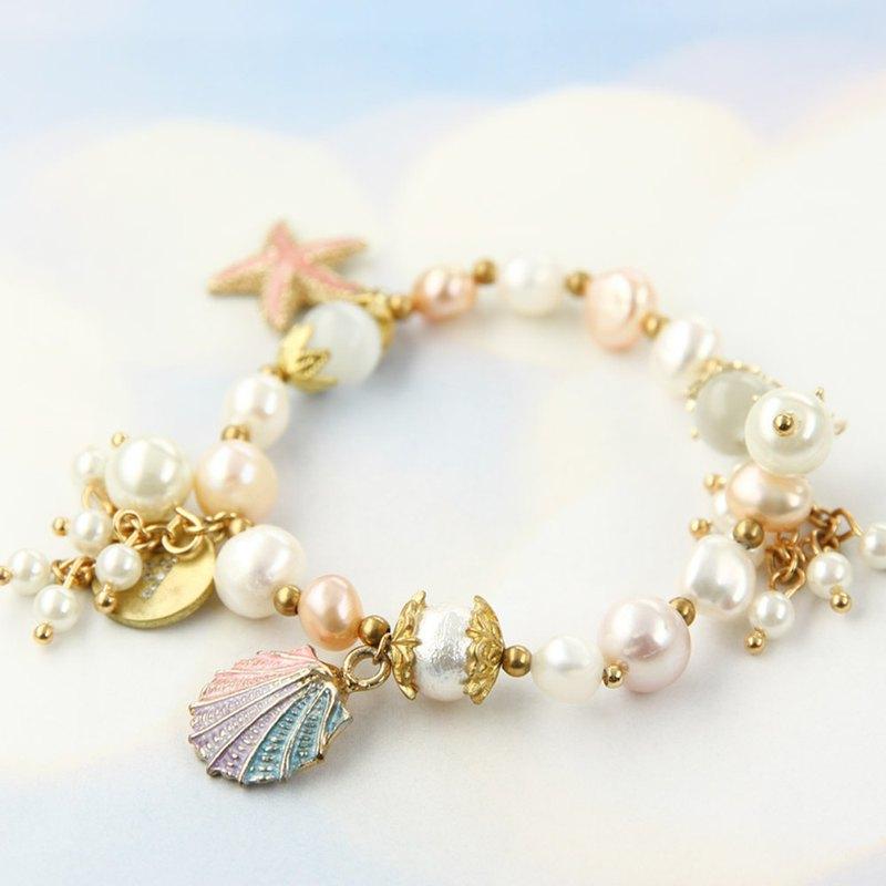 韓國黃銅工藝x 繽紛海洋天然珍珠與貓眼石 手鍊