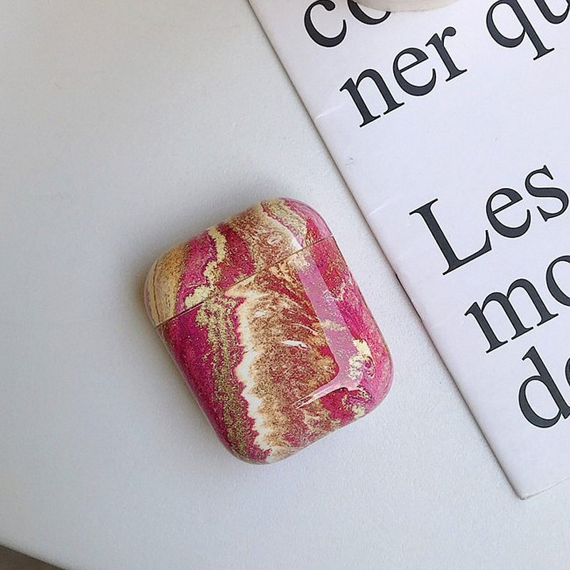 Marble Pattern Airpods Case Golden Pink