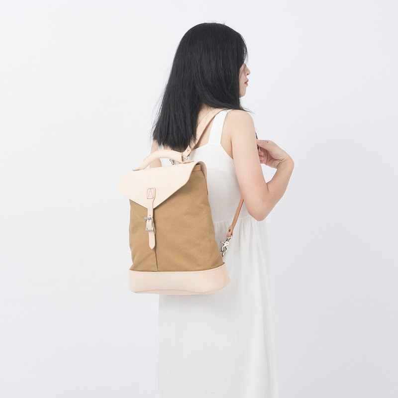 [Canvas meets leather] hand stitching large capacity casual backpack bucket bag minimalist campus style