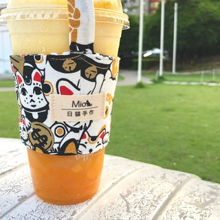 [Japanese limited edition] (black) Lucky Cat - Japanese hand made cup set / beverage bag