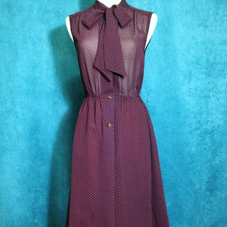 Ping-pong vintage [vintage dress / little wine color bow tie chiffon sleeveless vintage dress] abroad back VINTAGE