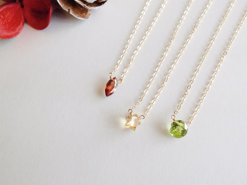 14KGF Garnet / Citrine / Olivine Ring-Cut Natural Stone Necklace Clavicle Chain Mini