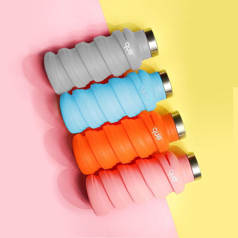 que retractable eco-friendly water bottle 355ml food grade silicone leak-proof design lightweight sports bottle