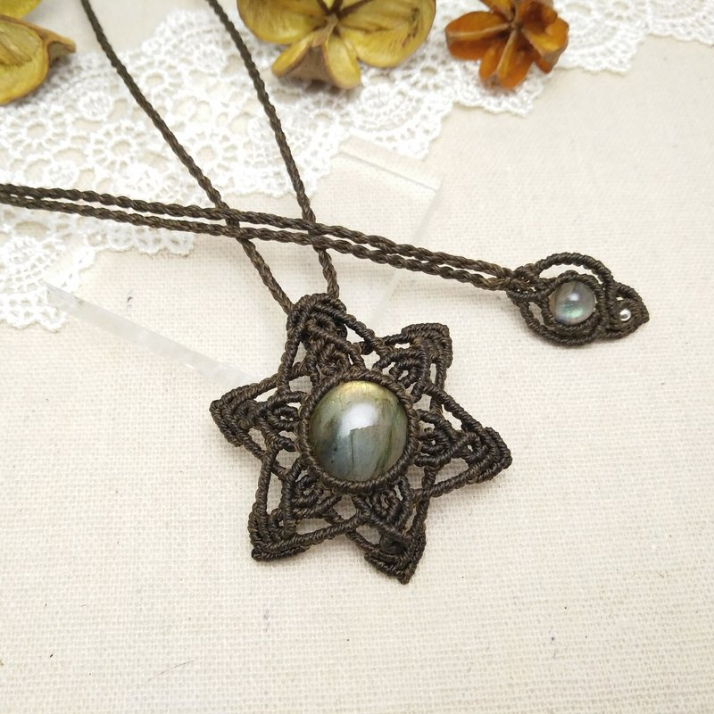 gallery. Six-pointed star. Iridescent Labradorite X South American Brazilian Wax Necklace