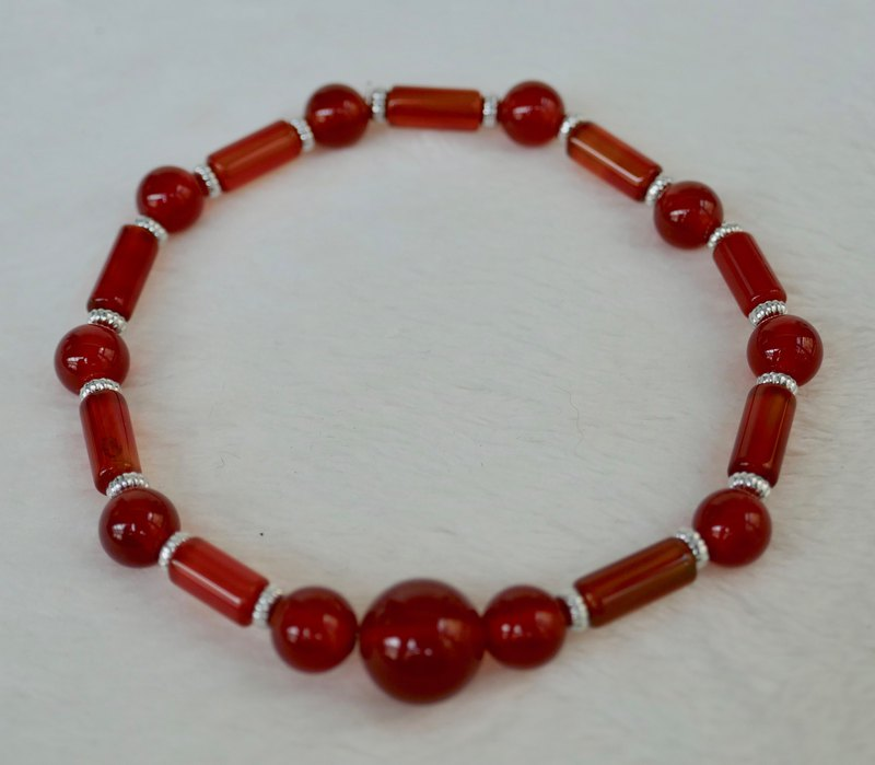 BR0390-Own Design and Manufacture-Natural Red Agate / Silver 925 Accessories Bracelet