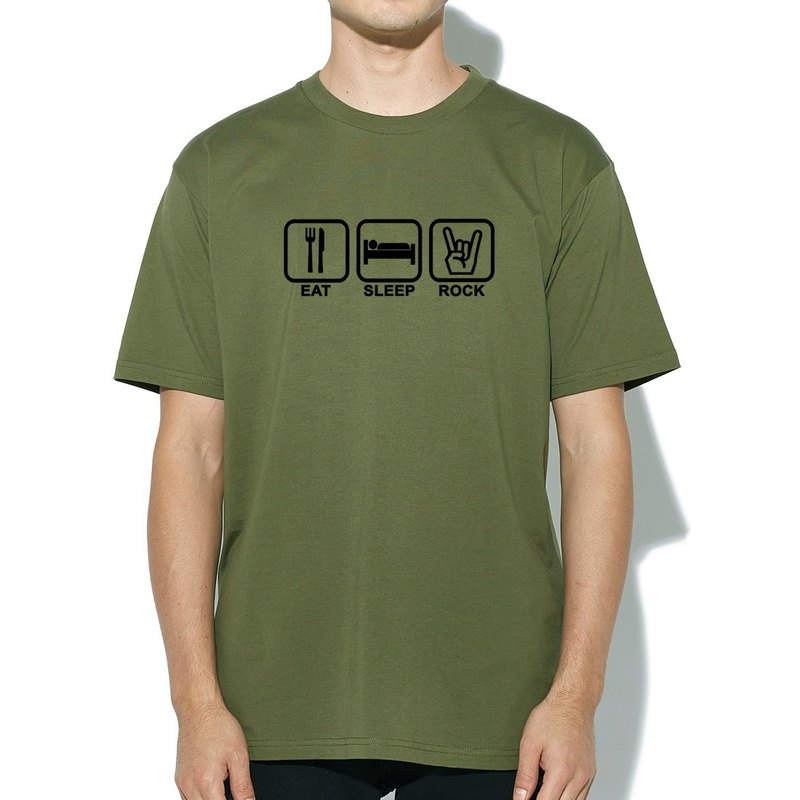Eat Sleep Rock army green t shirt