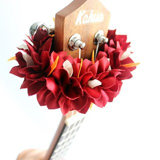 ribbon lei for ukulele (Bougainvillea red) / ukulele strap / ukulele ribbon /