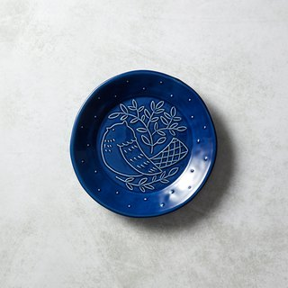 石丸波佐见烧- Mori's Song Round Bird Plate - Blue