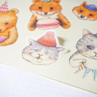Forest animals party stickers