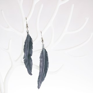 Leather Crave Earring Feather design - Gray Blue