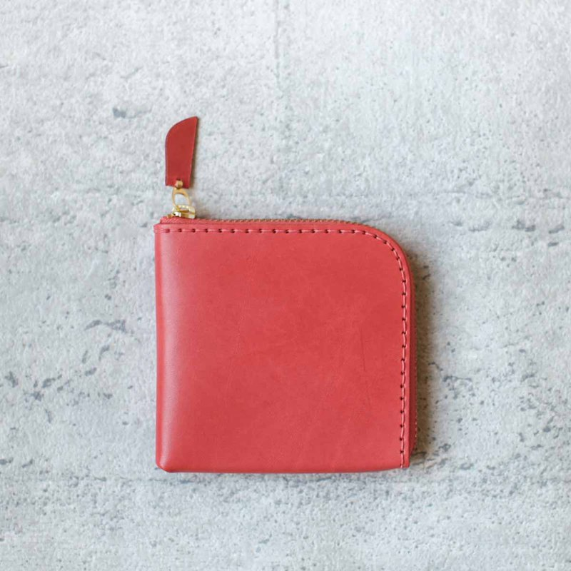 Coral classy leather coin zip wallet