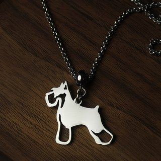 Stainless Steel Long Necklace - Cutout Dog