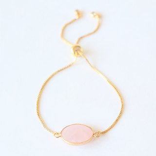 Rose quartz sliding bracelet - rose quartz gold plated bracelet