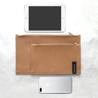 WASHABLE KRAFT PAPER CLUTCH BAG FOR IPAD MINI + 1 MULTI-PURPOSE POUCH OUTSIDE