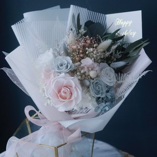 Bouquet Japan imported eternal flower does not wither dry pollen blue and white Korean rose hydrangea