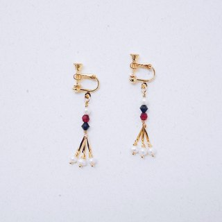 Collection - Earrings - hit color crystal beads freshwater pearl tassel earrings