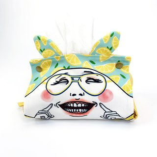 Smiling Egghead fabric tissue box cover