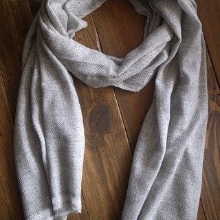 【Grooving the beats】Cashmere Stripes Shawl / Scarf / Stole Handmade from Nepal(thick_Light Grey+White)