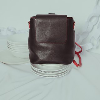 Finely rolled small color block, backpack black red
